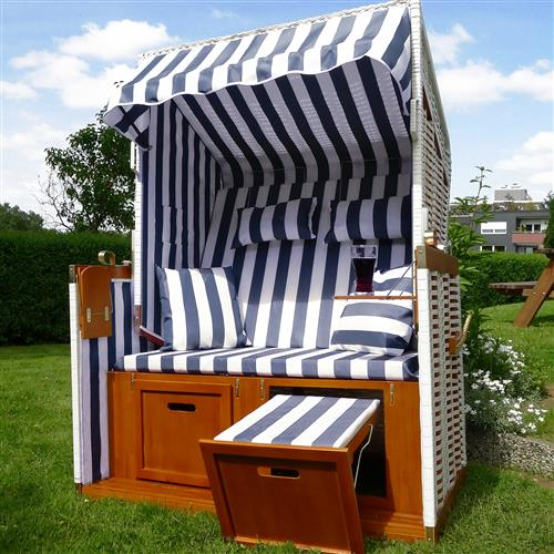 strandkorb strandk rbe gartenliege inkl fu st tzen klapptische kissen blau wei ebay. Black Bedroom Furniture Sets. Home Design Ideas