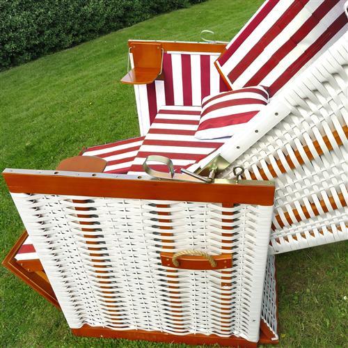 strandkorb strandk rbe garten liege fu st tzen klapptische kissen rot wei. Black Bedroom Furniture Sets. Home Design Ideas