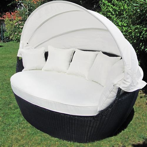 xxl poly rattan sonneninsel sonnenliege strandkorb garten lounge muschel 195cm ebay. Black Bedroom Furniture Sets. Home Design Ideas