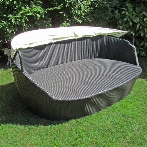 xxl poly rattan sonneninsel sonnenliege strandkorb garten lounge muschel 195cm. Black Bedroom Furniture Sets. Home Design Ideas