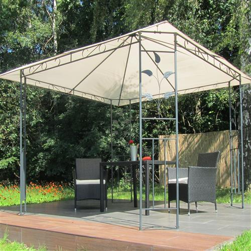 metall pavillon 3x3 m creme partyzelt gartenpavillon. Black Bedroom Furniture Sets. Home Design Ideas