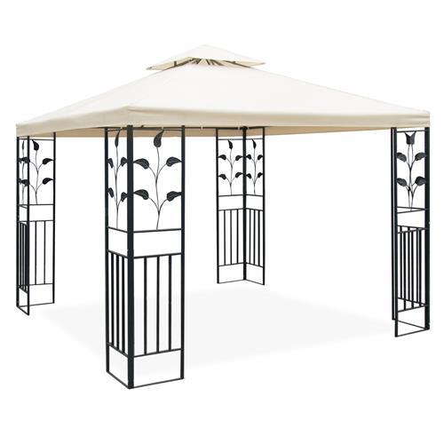 metall pavillon 3x3 m creme partyzelt gartenpavillon festzelt metallpavillon 4048961091671 ebay. Black Bedroom Furniture Sets. Home Design Ideas