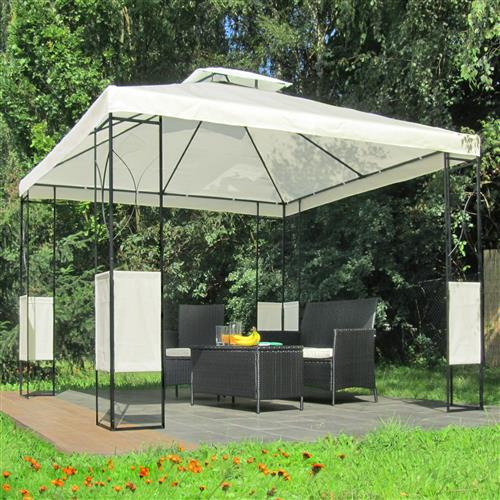 metall pavillon 3x3m creme garten pavillion festzelt gartenzelt metallpavillion ebay. Black Bedroom Furniture Sets. Home Design Ideas