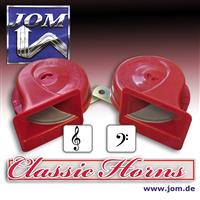 Air horn / fanfare, 12V 110 dB, 9 cm, 2-tone high and low sound, red and certified! universal