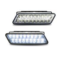 Lumini de zi DRL cu pozitie, 18 LED x 2, 12V & 24V, curbat, clar/crom , dim function, R87/R7 approved, E-marked, 100x25x35mm