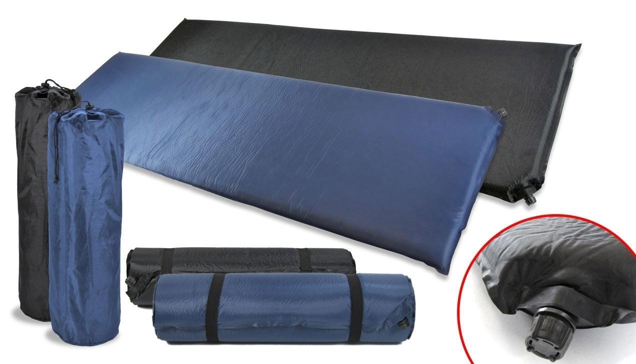 luftmatratze thermo isomatte selbstaufblasend blau schwarz. Black Bedroom Furniture Sets. Home Design Ideas