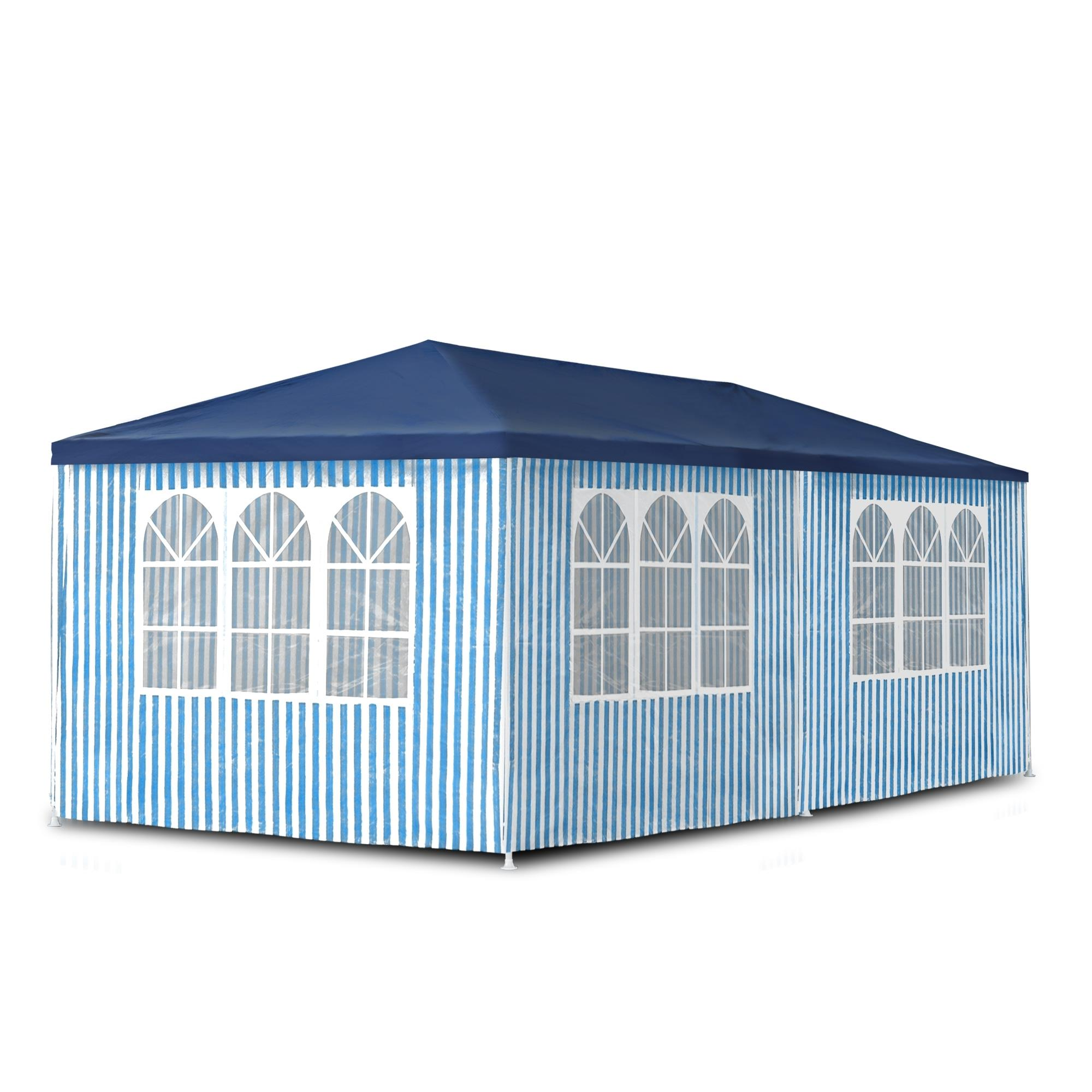 garten pavillon 3x6 m party party bier zelt blau wei wasserdicht seitenw nde ebay. Black Bedroom Furniture Sets. Home Design Ideas