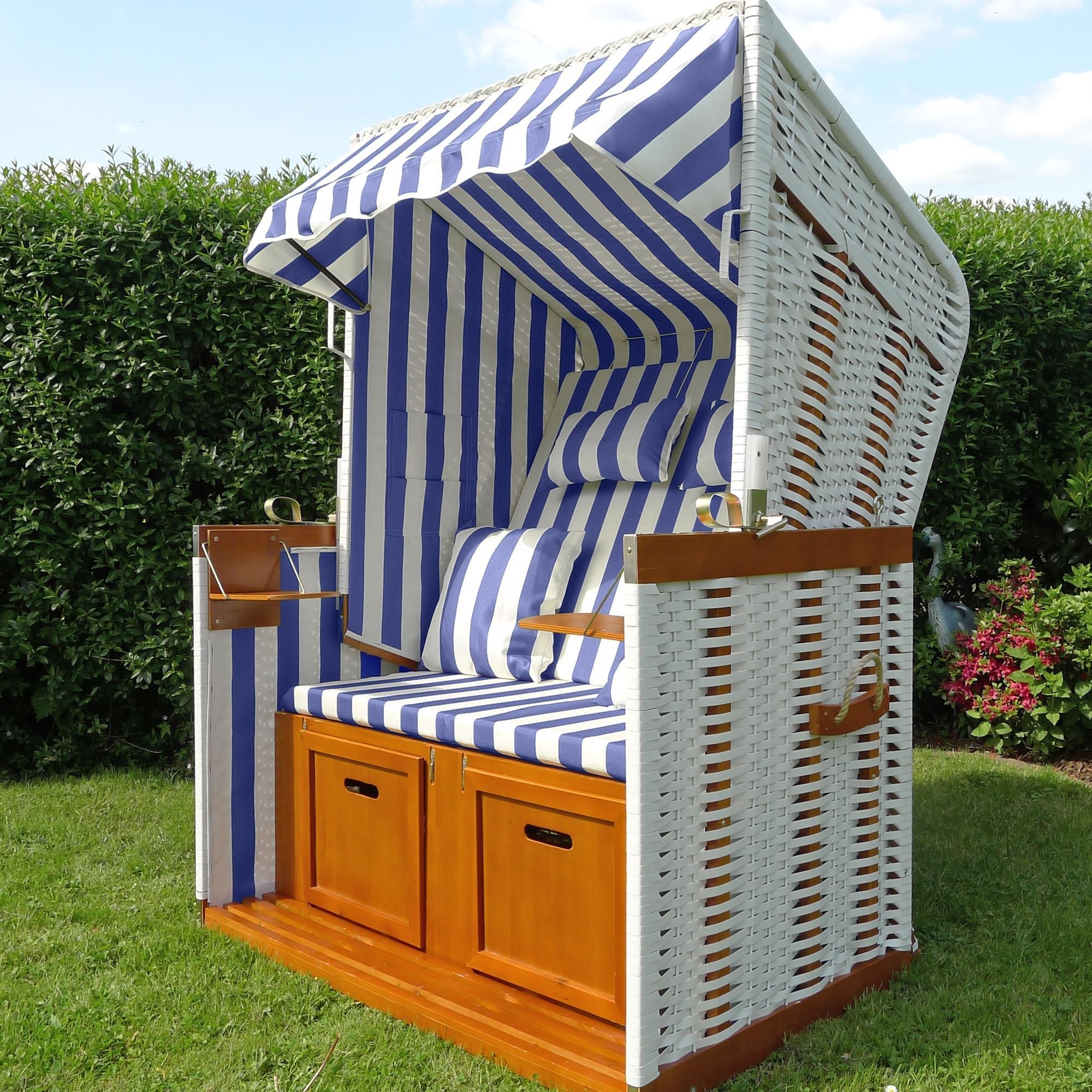 strandkorb strandk rbe garten liege fu st tzen klapptische kissen blau wei ebay. Black Bedroom Furniture Sets. Home Design Ideas