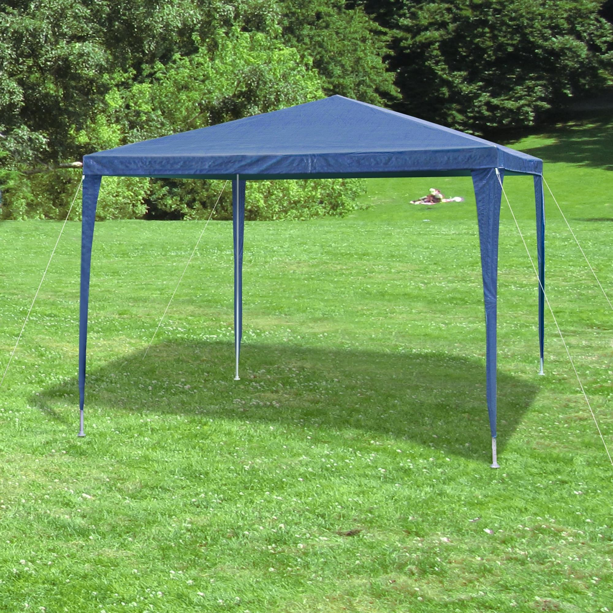 garten pavillon pavillion fest zelt blau 3x3 m 4 seitenteile 110g wasserdicht ebay. Black Bedroom Furniture Sets. Home Design Ideas