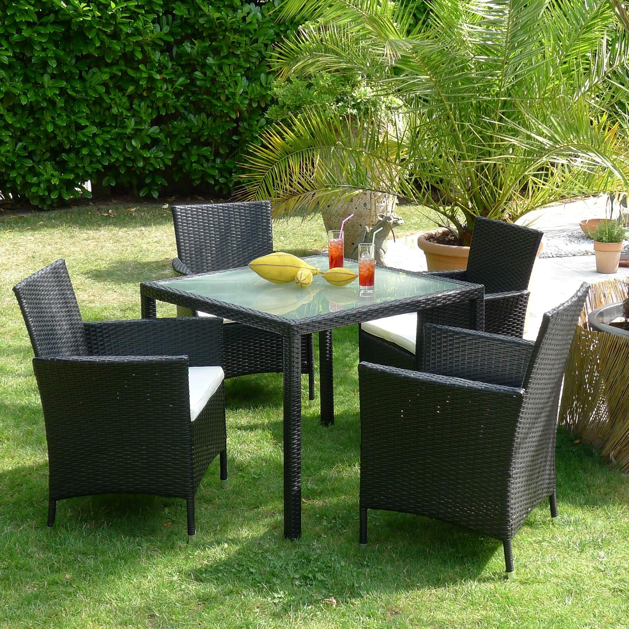 poly rattan sitzgruppe garten m bel garnitur esstisch gartenset schwarz ebay. Black Bedroom Furniture Sets. Home Design Ideas