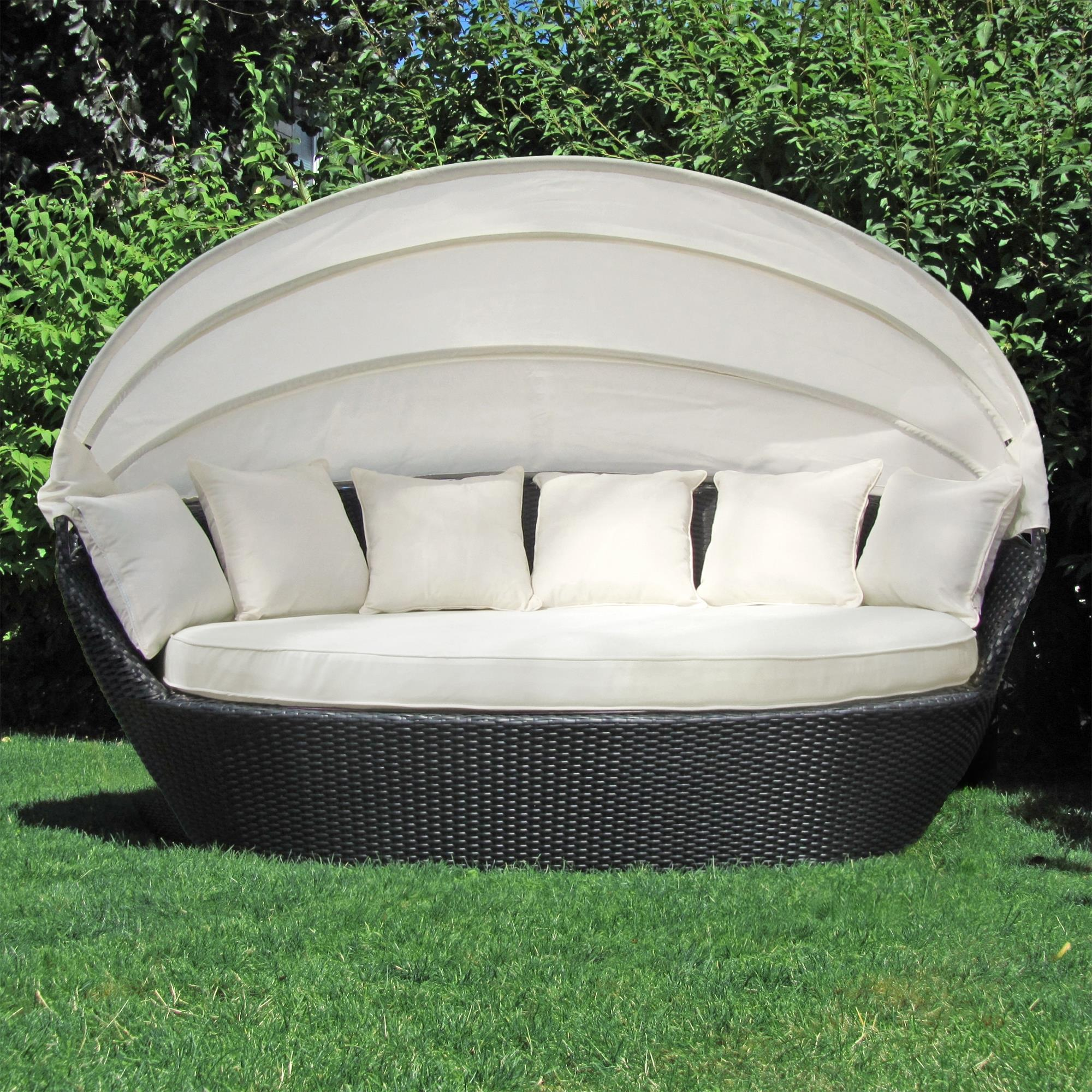 xxl sonneninsel sonnenliege strandkorb garten lounge muschel 200cm poly rattan ebay. Black Bedroom Furniture Sets. Home Design Ideas