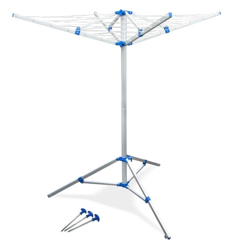 rotary clothesline clothes dryer 4-armed free standing with feet, clothes horse for balcony and camping made of aluminium