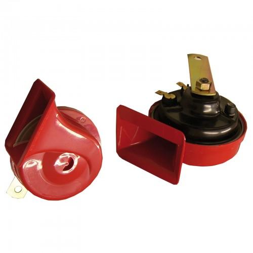 Fanfare, Signalhorn, Hupe, 12V 110 ± 5 dB, 9 cm, Dual Klang, Hochtöner und Tieftöner, rot mit Prüfzeichen! passend für universal