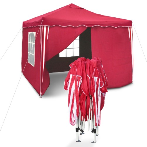 Pop Up Gazebo, Garden pavilion Sylt, II, pop-up pavilion, 3 x 3 m, red/white, with sidewalls, waterproof Oxford 200D fabric, bag inclusive