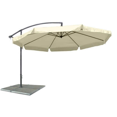 Parasol umbrella, Patio umbrella, diameter 3,5 m, beige, water repellent polyester 160G, metal components, adjustable inclination angle, winder mechanism