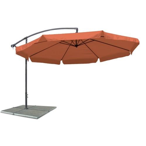 Parasol umbrella, Patio umbrella, diameter 3,5 m, terracotta, polyester 160G, water repellent, metal components, adjustable inclination angle, winder mechanism