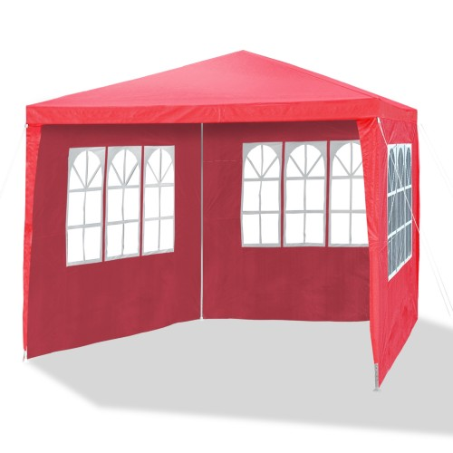 Gazebo, Tent, Garden pavilion 3 x 3 m, Ø 24/18 mm, red, incl. 4 side walls / 3 x windows / 1 door with zip, PE 110G material, all-purpose party tent, garden tent, metal bars, waterproof,plastic binder, tent pegs and ropes