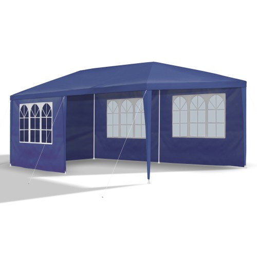 Gazebo, Tent, garden pavilion, 3 x 6m,  Ø 32x0.55/ 24x0.4/ 18x0.4, blue, 6 sidewalls incl./ 4 x windows / 2x completely closed blue, material PE 110G, coated metal frame, plastic connector, waterproof, tent pegs and cords