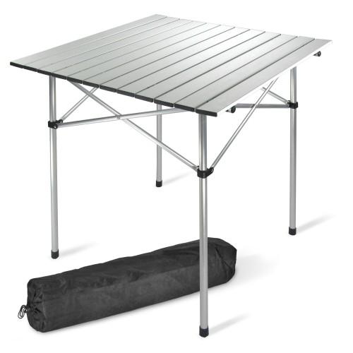 Campingtisch, Tisch 70 x 70 cm Alu nur 2,4 kg, Klapptisch, Rolltisch, inkl. Tragetasche
