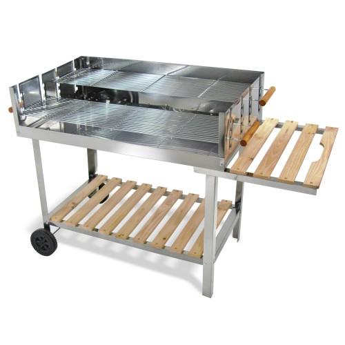 Portable stainless steel BBQ charcoal grill, dimensions: 136cm x 60cm  x 93cm, BBQ surface: 100cm x 60 cm, 2x shelf space: 37cm x 60 cm und  92cm x 60 cm, mobile: 2 wheels
