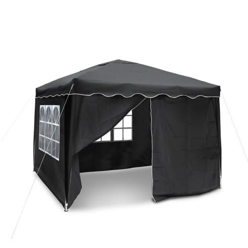 Pop Up Gazebo, Garden pavilion, Pop-up Pavilion 3 x 3 m, material Oxford 200D black with sidewalls and bag