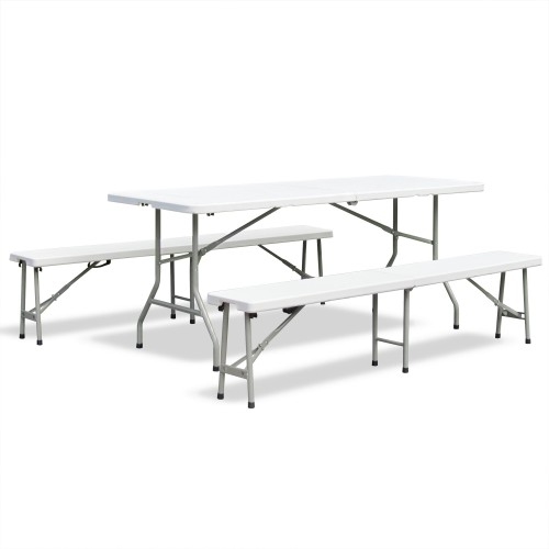 Beer tent set Garden furniture set plastic folding marquee set dining table foldable, light cream, table 180x75x74 cm with 2 benches 183x28x43 cm
