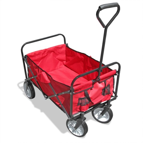 Folding hand cart, trolley foldable 87 x 55 cm, black-red, maximum loading weight 80kg, tarpaulin and bag included