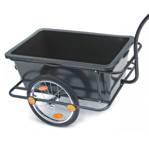Bicycle trailer, bike trailer, transport trailer 158 x 69 x 93 cm black, with plastic tub 90 liters, handle and coupling