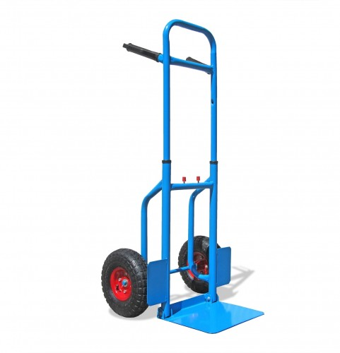 Professional hand truck, barrow, telescopic and with folding shovel to 150kg load capacity, 113 x 49.5 x 53 cm, blue