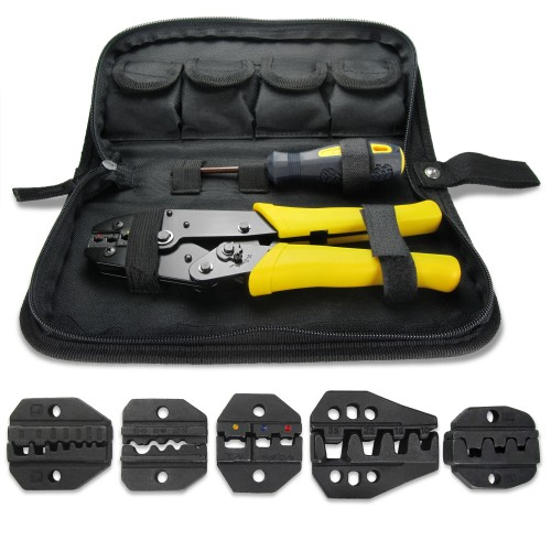 Crimp tool, crimping pliers, cable lugs tool, set with 5 exchangeable inserts, screwdriver included and all items in a practical bag with zipper, cable lugs
