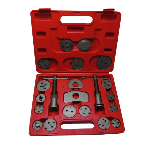 Brake piston rear disc brake caliper, 22-parts, material: steel, includes 17 adapters, 2 retainer plates, 2 spindles (left- and right-turning), 1 plastic case