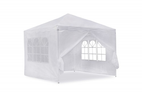 Gartenpavillon, Falt-Pavillon 3 x 3 m, weiss mit Seitenwänden, Material Oxford 200D,  inkl. Tasche