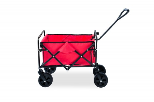 Foldable Transport Cart Hand Cart 65 x 45 cm Foldable with Plastic Wheels and a Max. Load of 80 kg Waterproof Red.