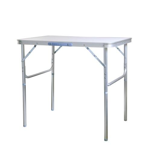JOM Table pliante 75 x 55 x 60 cm multiusage camping, Matériaux: Aluminium / MDF, couleur argenté.