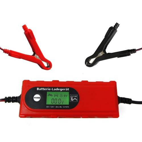 Batterieladegerät 6V/12V 4A mit Batterietester Erhaltungsladerät IP65für KFZ Auto Boot Quad Motorrad Roller isolierte Krokodilklemmen