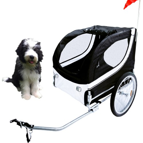 Pet Trailer Fold Bike Dog Bicycle Stroller Double Wheel  black / White