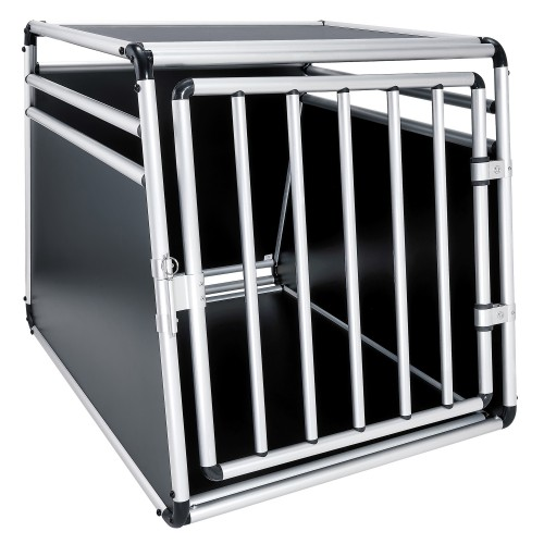 Dog transport box, Pet carrier box Alloy Travel box Grid box Car, size 69 x 65 x 90 cm, floor slab 90 x 65 cm / top panel: 57 x 65 cm, material: Alloy/ MDF, color: black/silver, 1 door, type round struts, self-assembly kit