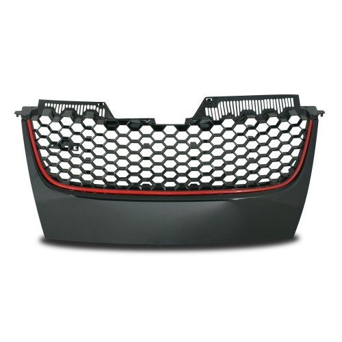 Front Grill badgeless, balck honey comb mesh with red frame line suitable for VW Golf 5
