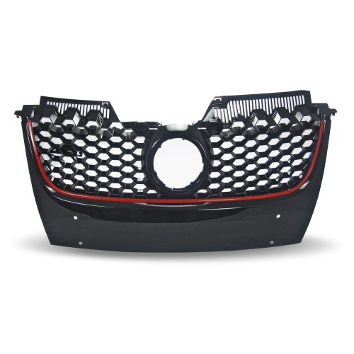 Front Grill with, honey comb mesh, black with red frame line suitable for VW Golf 5