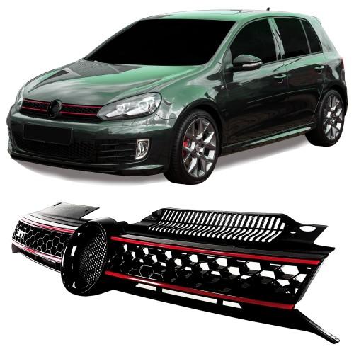 Golf 6 Kühlergrill, Sportgrill, mit Aussparung für das Emblem im Waben-Design passend für VW Golf 6 , 2008 - 2012