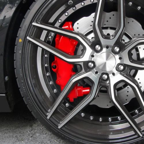 Bremssattellack, Bremssattel Lackier- Set, rot, 1K-System, Bremssattellack 75ml, Bremsenreiniger 250ml, Pinsel und Handschuhe