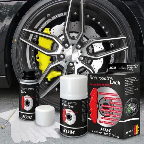 Bremssattellack, Bremssattel Lackier- Set, gelb, 1K-System, Bremssattellack 75ml, Bremsenreiniger 250ml, Pinsel und Handschuhe