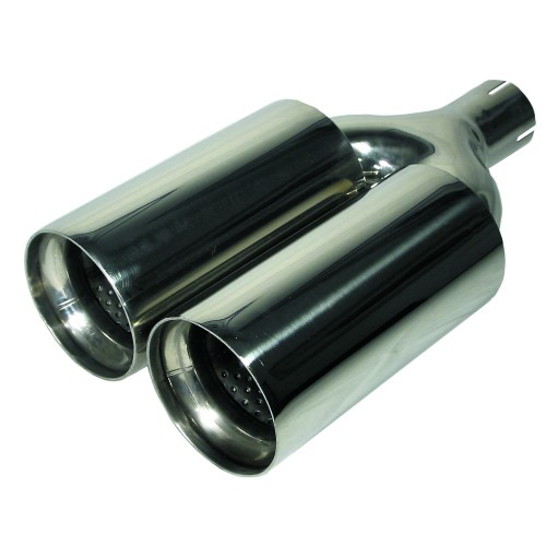Tailpipe, twin round, Y adapter, 2x100mm, 355mm, Ø 58 connection, EC approved