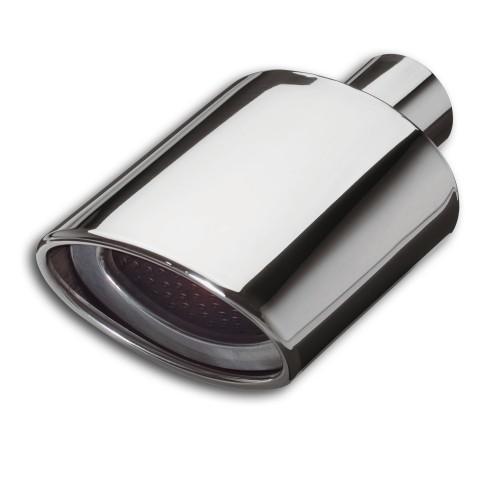 Endrohr, Ellipse short, mit Auslassmaske, gebördelt, 150 mm x 100 mm, 254 mm, Einlass Ø 58 mm, mit EG- Betriebserlaubnis