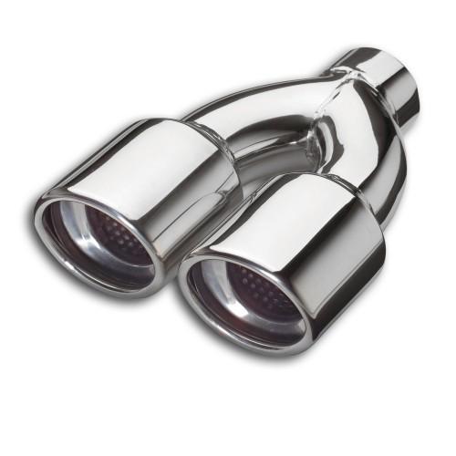 Y-Endrohr, Doppel - Ellipse mit Auslassmaske, gebördelt, 2 x 83 mm, 210 mm, Einlass Ø 52 mm, mit EG- Betriebserlaubnis