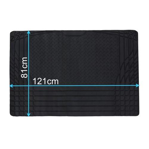 Kofferraummatte Gummimatte Antirutschmatte Universal,121 x 81 cm, schwarz, PVC, Individuell Zuschneidbar,