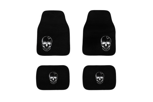 Set tapis voiture, noir, tête de mort blanche
