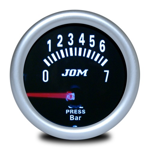 Gauge, oil pressure, black reflecting cover glass