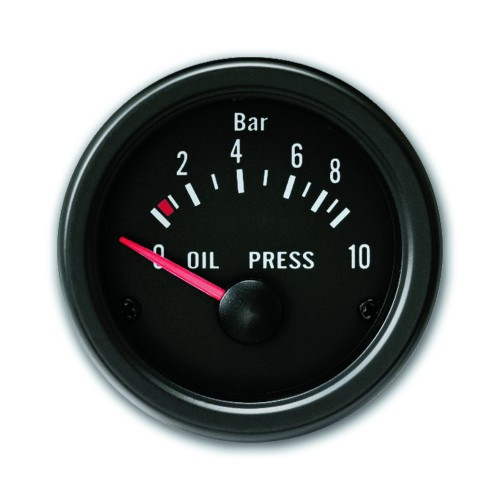 Gauge, oil pressure, black, Ø52mm