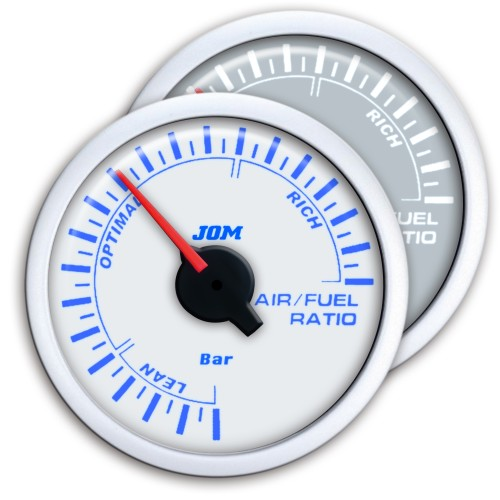 Gauge, air/fuel ratio, white design, blue LED scale, Ø52mm